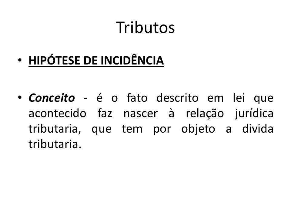 Tributos HIPÓTESE DE INCIDÊNCIA Conceito - é o fato descrito em lei que acontecido faz nascer à relação jurídica tributaria, que tem por objeto a divi