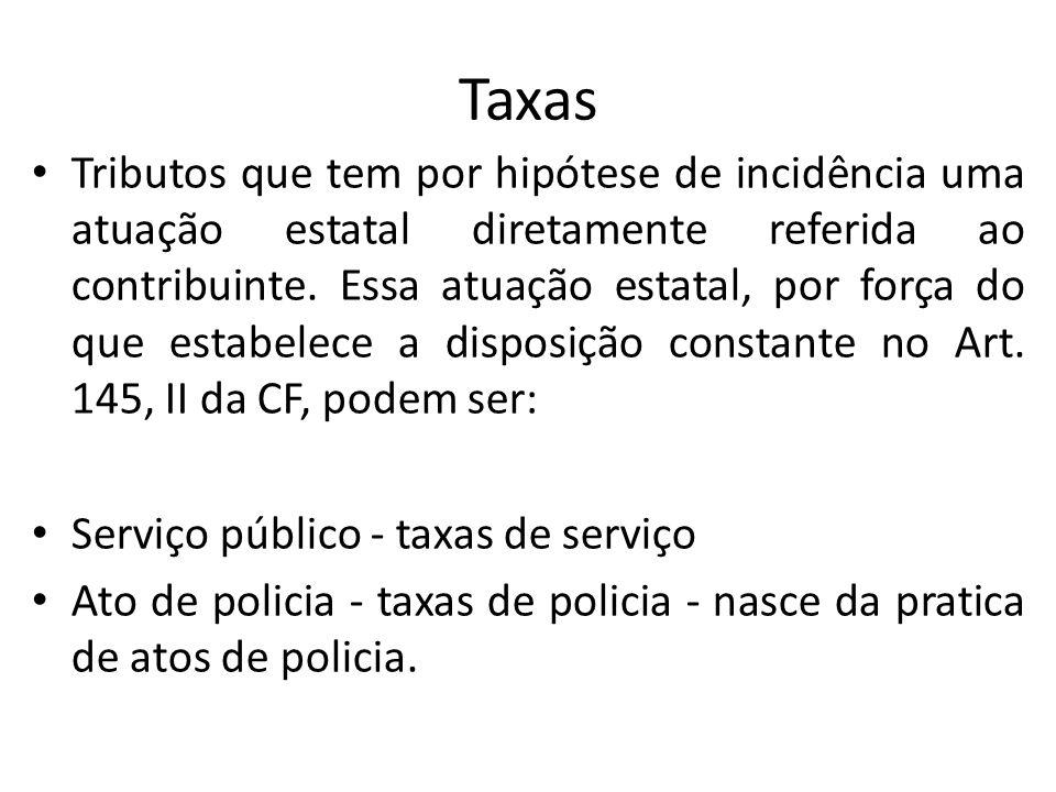 Taxas Tributos que tem por hipótese de incidência uma atuação estatal diretamente referida ao contribuinte.