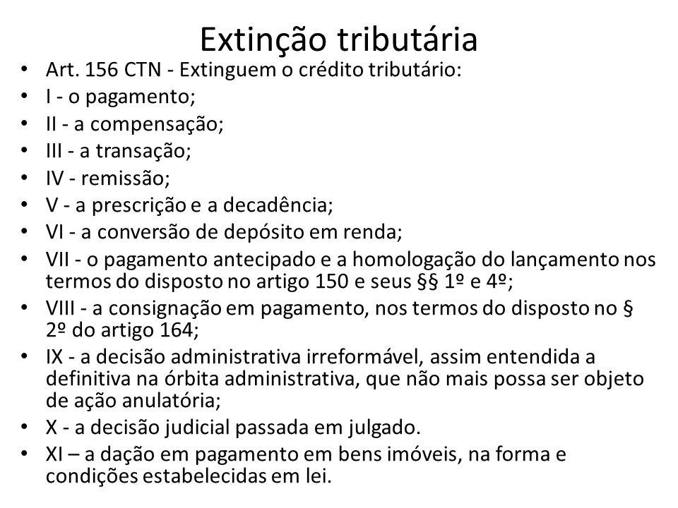 Extinção tributária Art. 156 CTN - Extinguem o crédito tributário: I - o pagamento; II - a compensação; III - a transação; IV - remissão; V - a prescr
