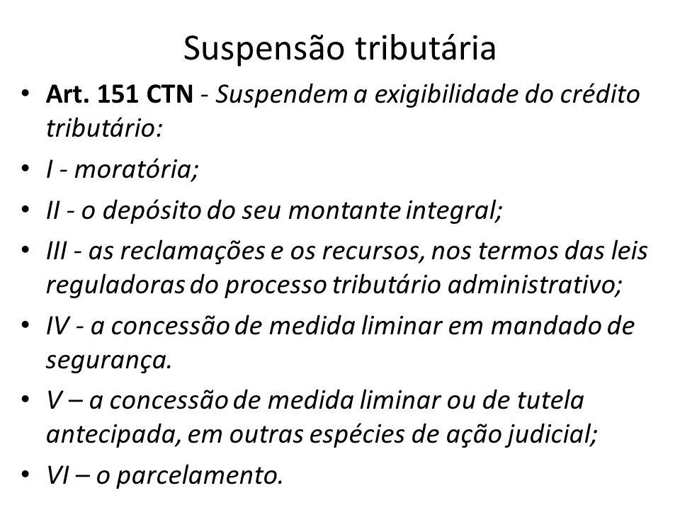 Suspensão tributária Art. 151 CTN - Suspendem a exigibilidade do crédito tributário: I - moratória; II - o depósito do seu montante integral; III - as