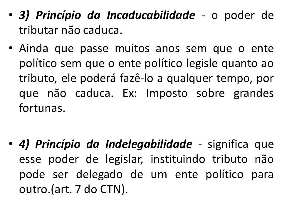 3) Princípio da Incaducabilidade - o poder de tributar não caduca. Ainda que passe muitos anos sem que o ente político sem que o ente político legisle