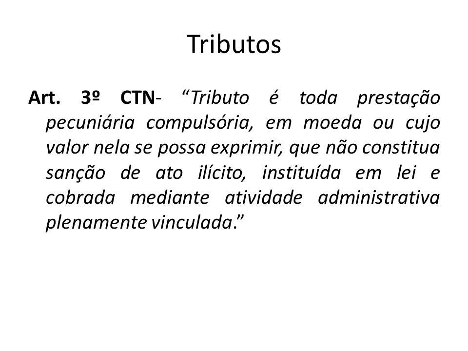 Tributos Art. 3º CTN- Tributo é toda prestação pecuniária compulsória, em moeda ou cujo valor nela se possa exprimir, que não constitua sanção de ato
