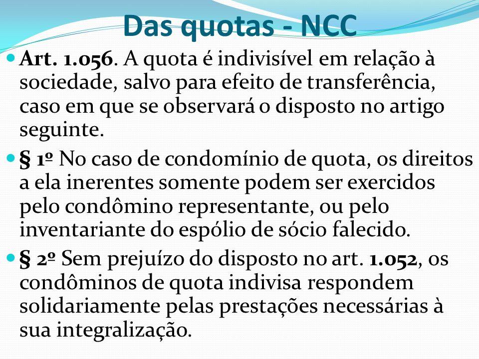 Das quotas - NCC Art. 1.056. A quota é indivisível em relação à sociedade, salvo para efeito de transferência, caso em que se observará o disposto no