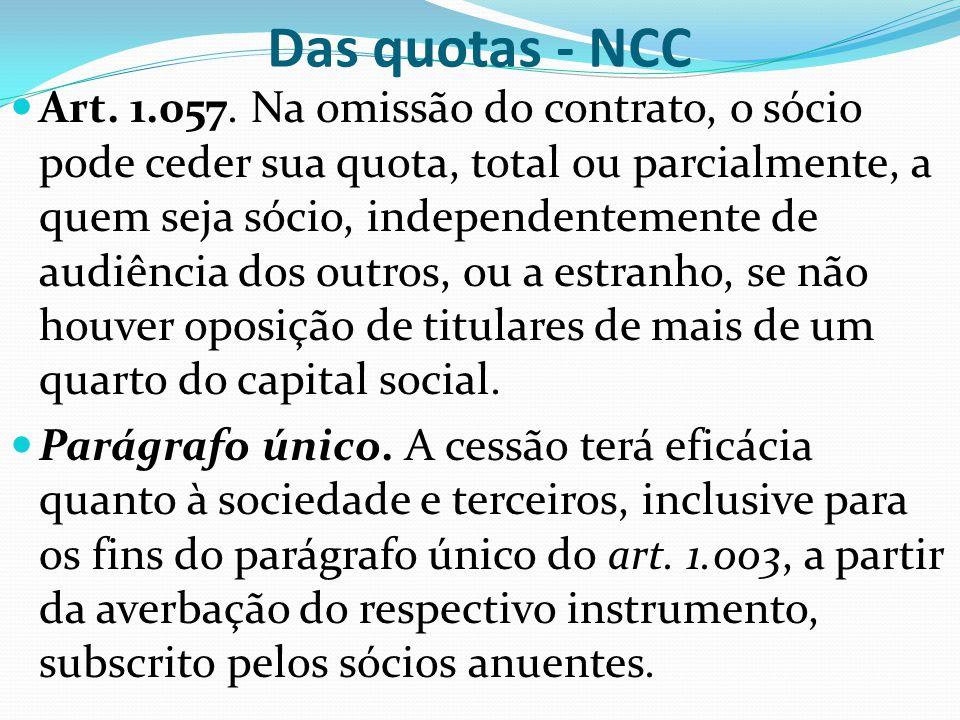 Das quotas - NCC Art. 1.057. Na omissão do contrato, o sócio pode ceder sua quota, total ou parcialmente, a quem seja sócio, independentemente de audi