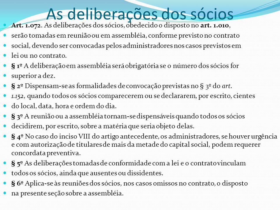 As deliberações dos sócios Art. 1.072. As deliberações dos sócios, obedecido o disposto no art. 1.010, serão tomadas em reunião ou em assembléia, conf
