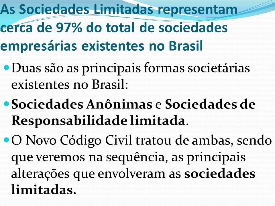 As Sociedades Limitadas representam cerca de 97% do total de sociedades empresárias existentes no Brasil Duas são as principais formas societárias exi