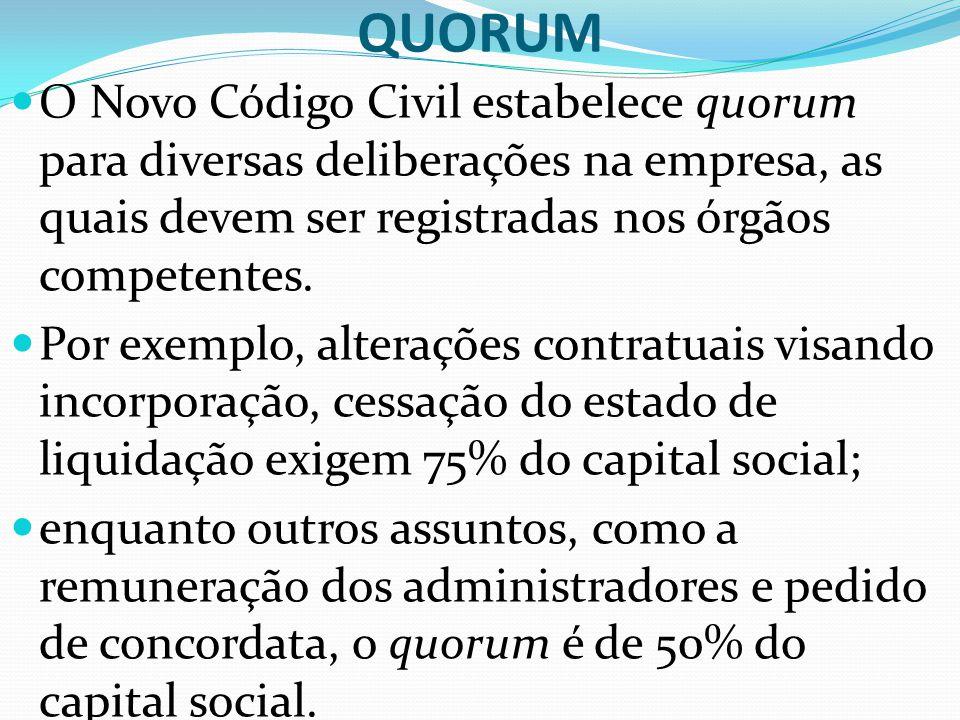 QUORUM O Novo Código Civil estabelece quorum para diversas deliberações na empresa, as quais devem ser registradas nos órgãos competentes. Por exemplo