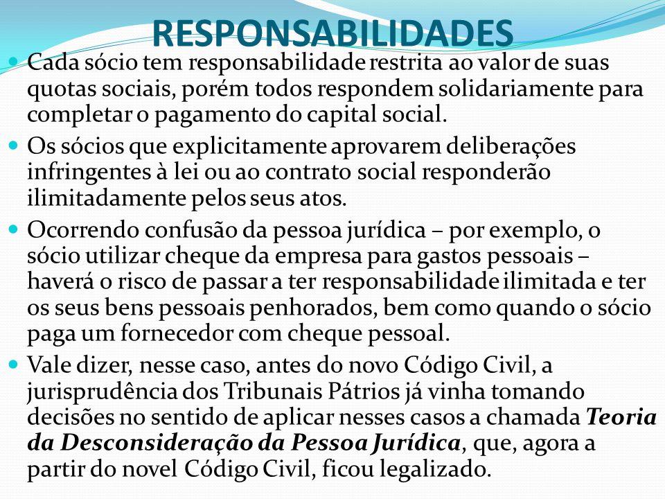 RESPONSABILIDADES Cada sócio tem responsabilidade restrita ao valor de suas quotas sociais, porém todos respondem solidariamente para completar o paga