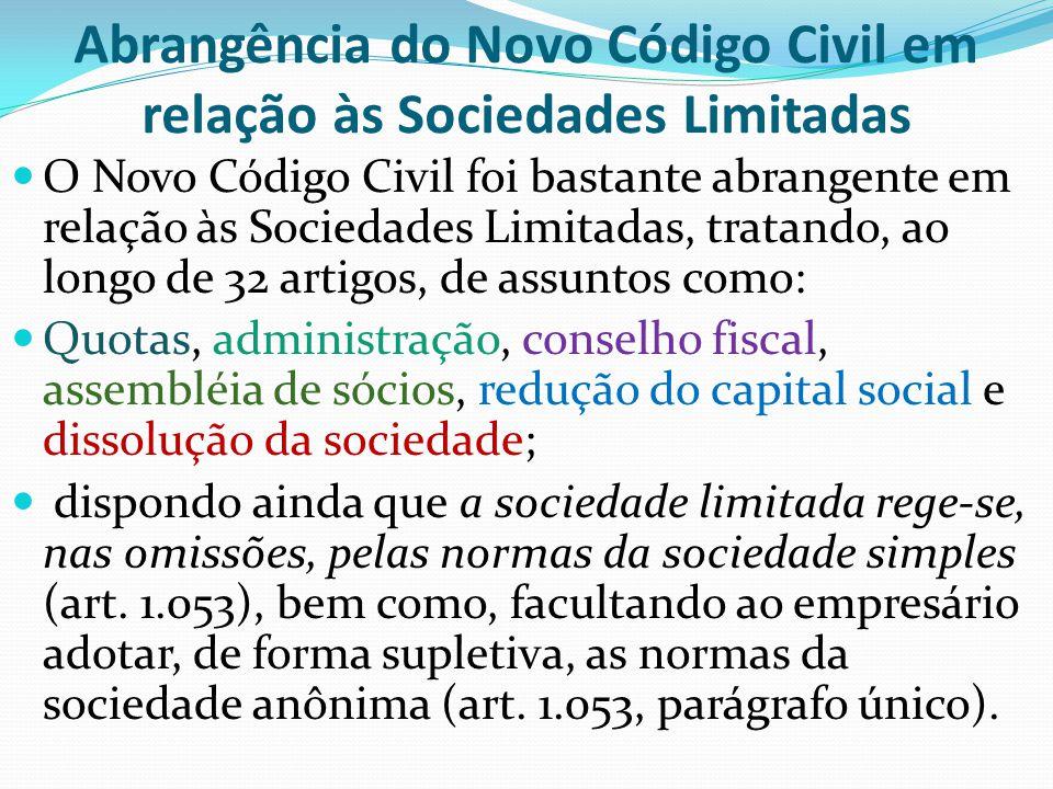 Abrangência do Novo Código Civil em relação às Sociedades Limitadas O Novo Código Civil foi bastante abrangente em relação às Sociedades Limitadas, tr