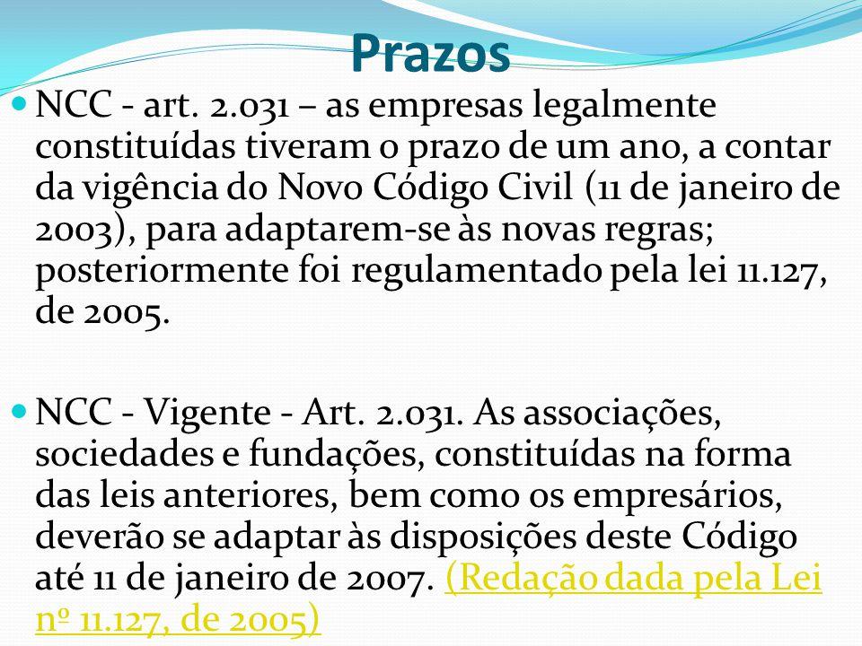 Prazos NCC - art. 2.031 – as empresas legalmente constituídas tiveram o prazo de um ano, a contar da vigência do Novo Código Civil (11 de janeiro de 2