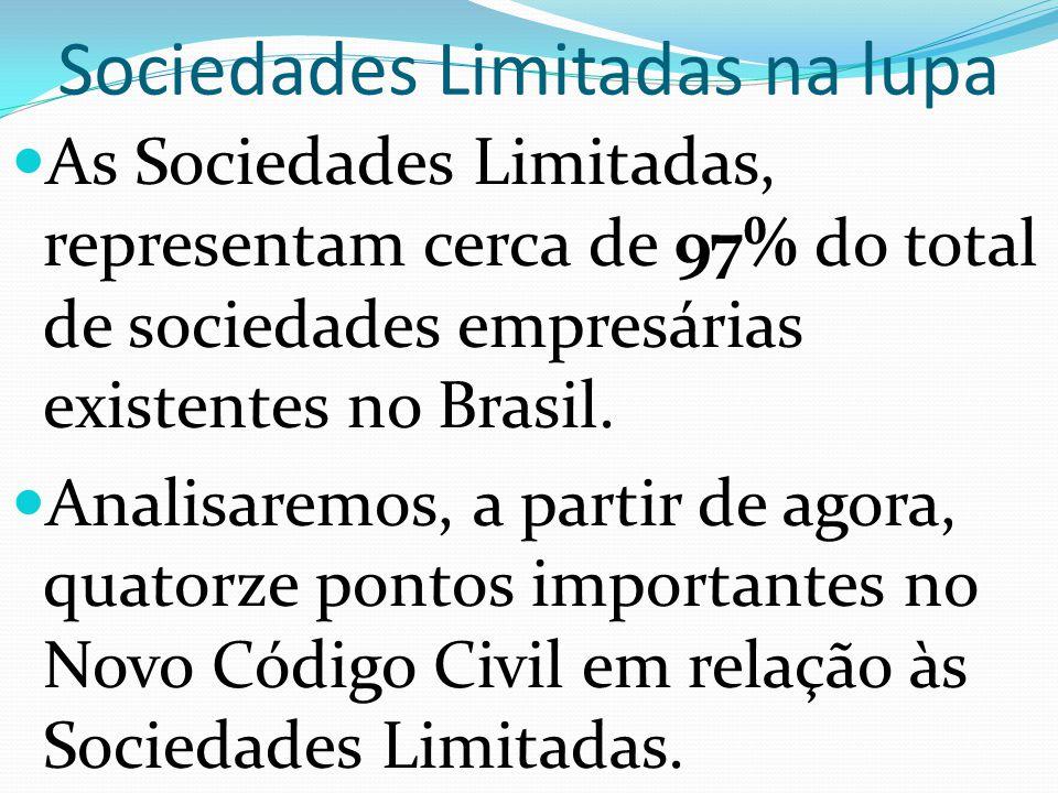 Sociedades Limitadas na lupa As Sociedades Limitadas, representam cerca de 97% do total de sociedades empresárias existentes no Brasil. Analisaremos,