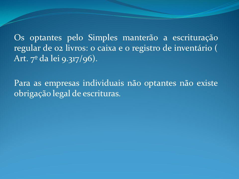 Os optantes pelo Simples manterão a escrituração regular de 02 livros: o caixa e o registro de inventário ( Art. 7º da lei 9.317/96). Para as empresas