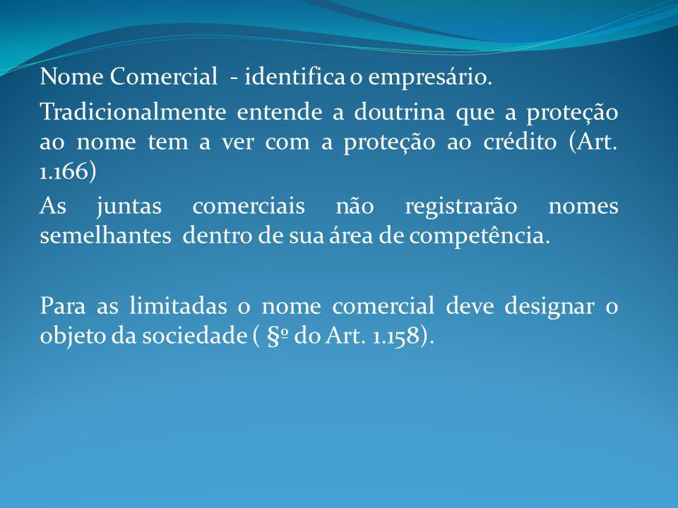 Nome Comercial - identifica o empresário. Tradicionalmente entende a doutrina que a proteção ao nome tem a ver com a proteção ao crédito (Art. 1.166)