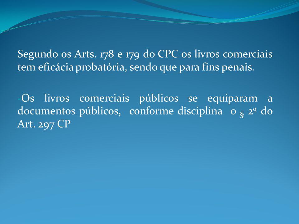 Segundo os Arts. 178 e 179 do CPC os livros comerciais tem eficácia probatória, sendo que para fins penais. - Os livros comerciais públicos se equipar
