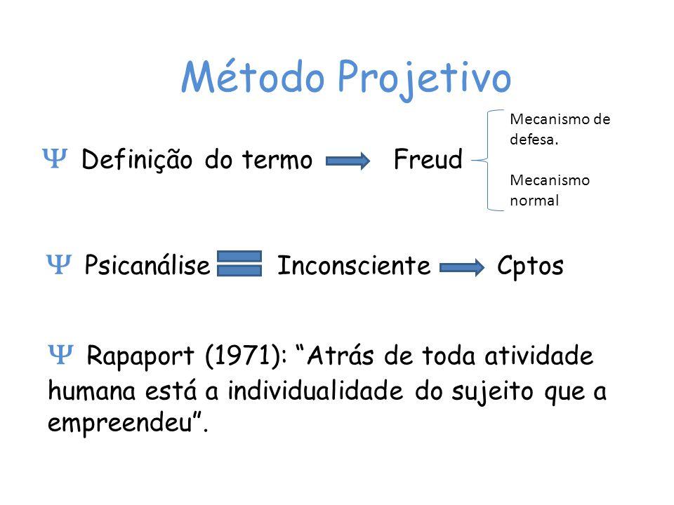 Método Projetivo Definição do termo Freud Mecanismo de defesa. Mecanismo normal Psicanálise Inconsciente Cptos Rapaport (1971): Atrás de toda atividad