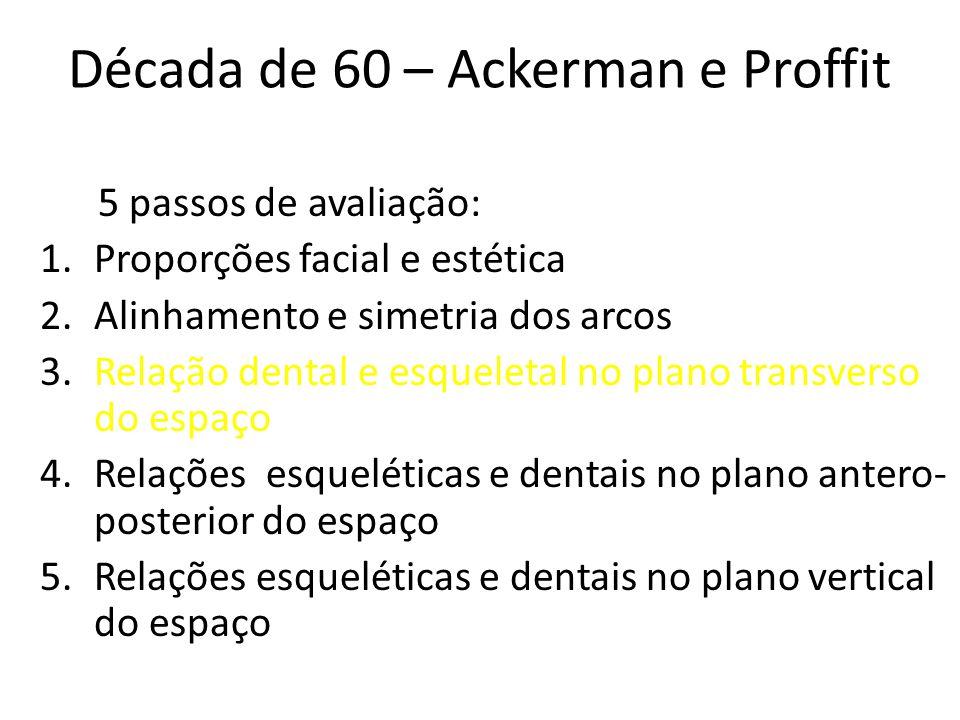 Década de 60 – Ackerman e Proffit 5 passos de avaliação: 1.Proporções facial e estética 2.Alinhamento e simetria dos arcos 3.Relação dental e esquelet