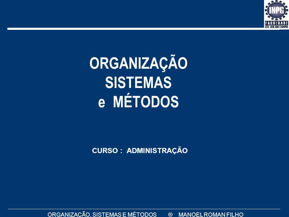 ORGANIZAÇÃO, SISTEMAS E MÉTODOS ® MANOEL ROMAN FILHO ORGANIZAÇÃO SISTEMAS e MÉTODOS CURSO : ADMINISTRAÇÃO
