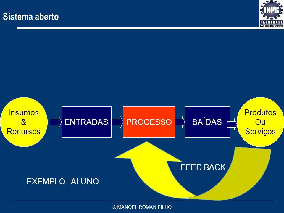 ® MANOEL ROMAN FILHO 1 8 Recursos 4 2 9 9 9 10 9 7 9 3 Capital Matéria-prima Tecnologia Recursos Humanos Entradas Concorrência Mercado Sistema Recepto
