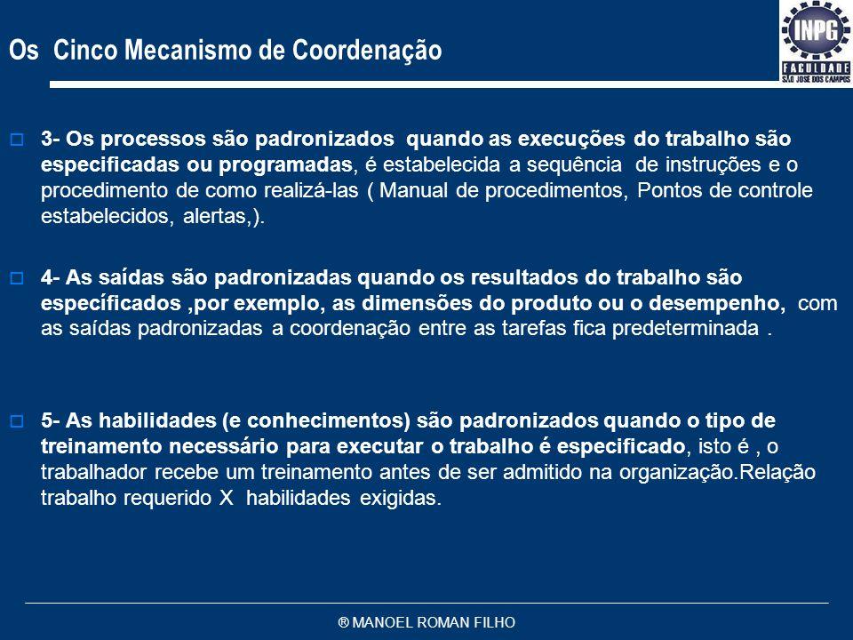 ® MANOEL ROMAN FILHO A estrutura de uma organização pode ser simplesmente definida como a soma total das maneiras pelas quais o trabalho é dividido em