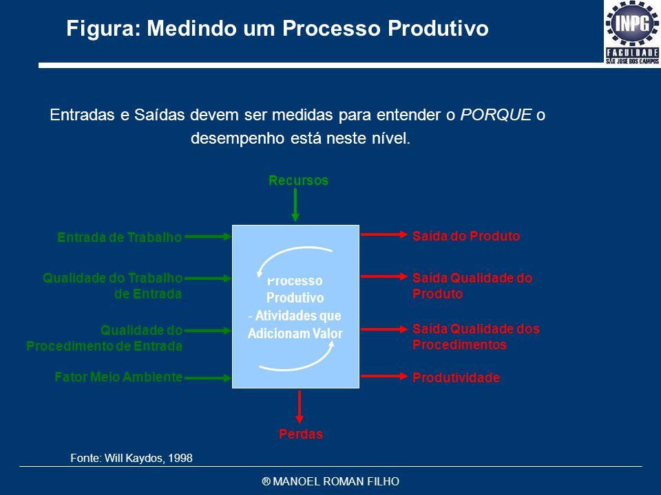® MANOEL ROMAN FILHO Relacionamento entre Medidas: Perspectiva da Empresa EMPRESA Fornecedores Competidores Regulamentações Governamentais Pedidos, Tr