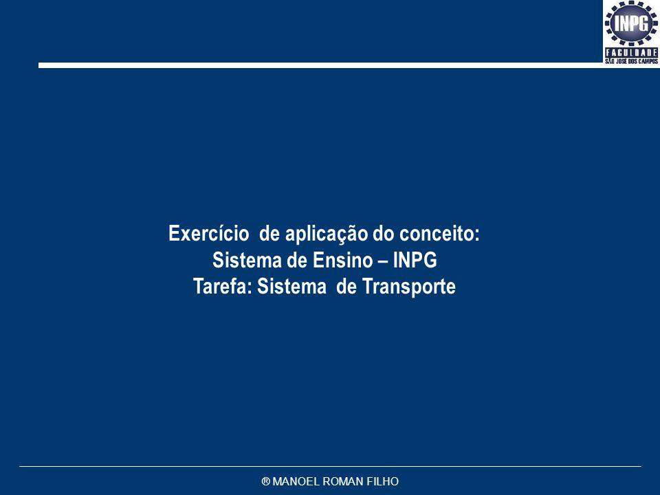 ® MANOEL ROMAN FILHO Exercício de aplicação do conceito: Sistema de Ensino – INPG Tarefa: Sistema de Transporte
