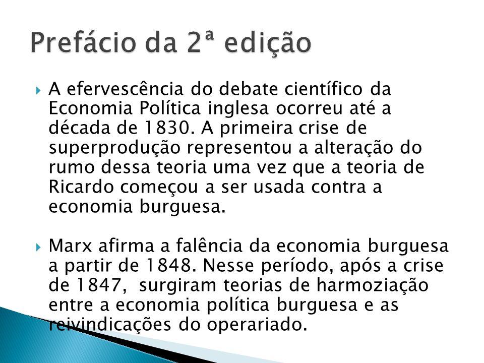 A efervescência do debate científico da Economia Política inglesa ocorreu até a década de 1830.