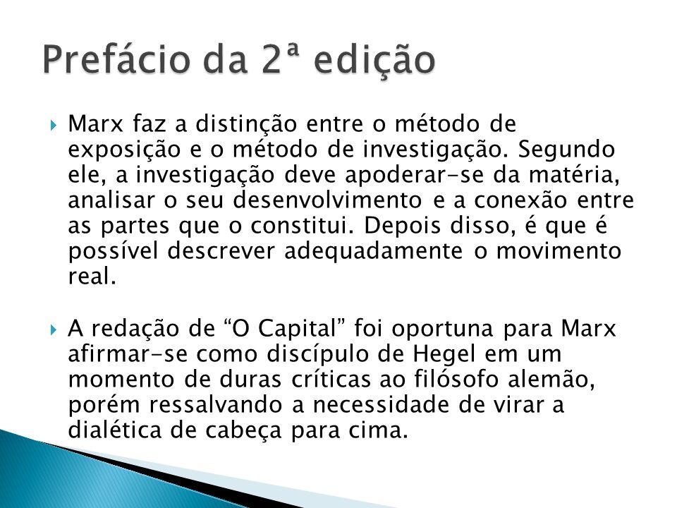 Marx faz a distinção entre o método de exposição e o método de investigação.