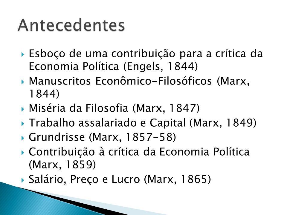 Esboço de uma contribuição para a crítica da Economia Política (Engels, 1844) Manuscritos Econômico-Filosóficos (Marx, 1844) Miséria da Filosofia (Marx, 1847) Trabalho assalariado e Capital (Marx, 1849) Grundrisse (Marx, 1857-58) Contribuição à crítica da Economia Política (Marx, 1859) Salário, Preço e Lucro (Marx, 1865)