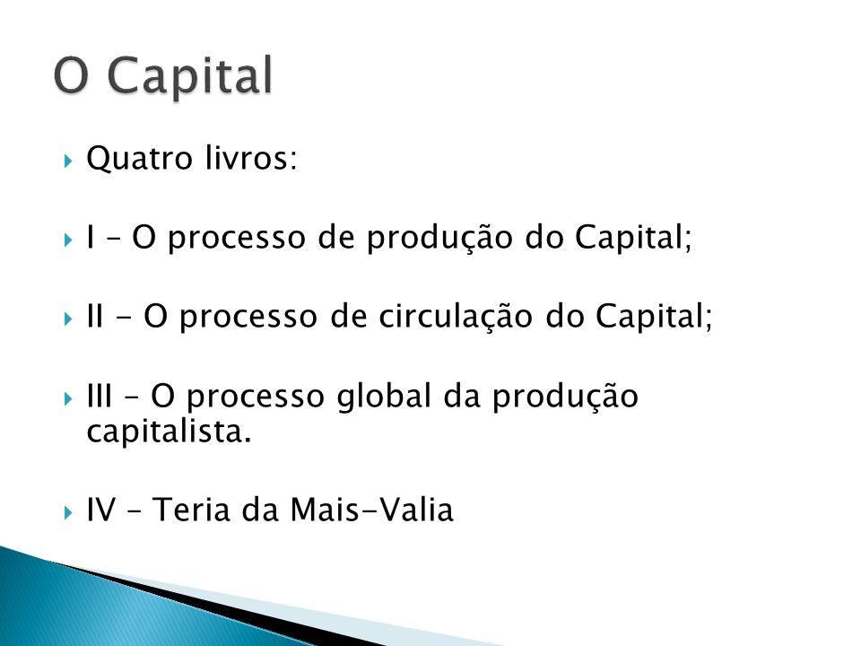 Quatro livros: I – O processo de produção do Capital; II - O processo de circulação do Capital; III – O processo global da produção capitalista.