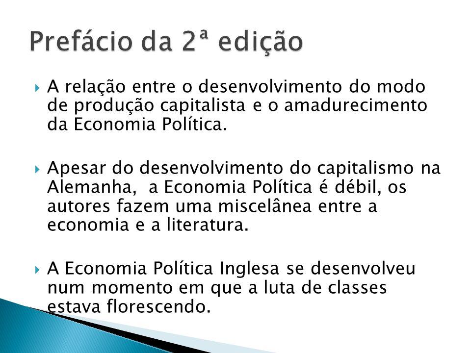 A relação entre o desenvolvimento do modo de produção capitalista e o amadurecimento da Economia Política. Apesar do desenvolvimento do capitalismo na