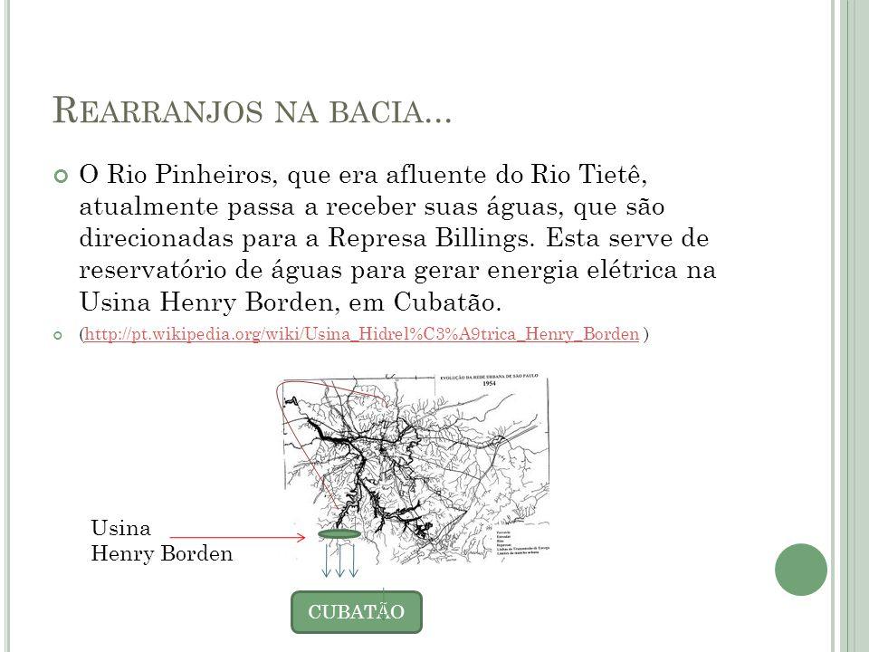 R EARRANJOS NA BACIA... O Rio Pinheiros, que era afluente do Rio Tietê, atualmente passa a receber suas águas, que são direcionadas para a Represa Bil