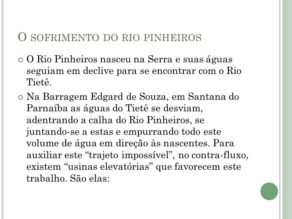 O SOFRIMENTO DO RIO PINHEIROS O Rio Pinheiros nasceu na Serra e suas águas seguiam em declive para se encontrar com o Rio Tietê. Na Barragem Edgard de