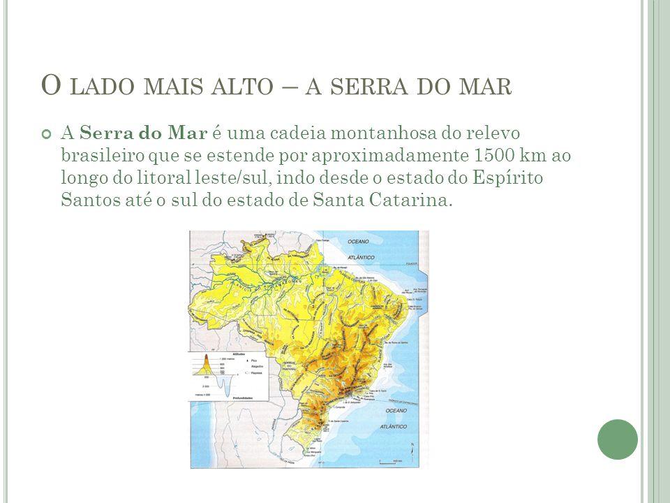 O LADO MAIS ALTO – A SERRA DO MAR A Serra do Mar é uma cadeia montanhosa do relevo brasileiro que se estende por aproximadamente 1500 km ao longo do litoral leste/sul, indo desde o estado do Espírito Santos até o sul do estado de Santa Catarina.