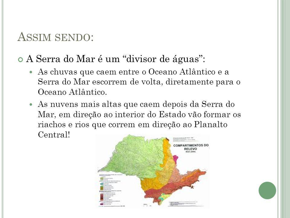 A SSIM SENDO : A Serra do Mar é um divisor de águas: As chuvas que caem entre o Oceano Atlântico e a Serra do Mar escorrem de volta, diretamente para o Oceano Atlântico.