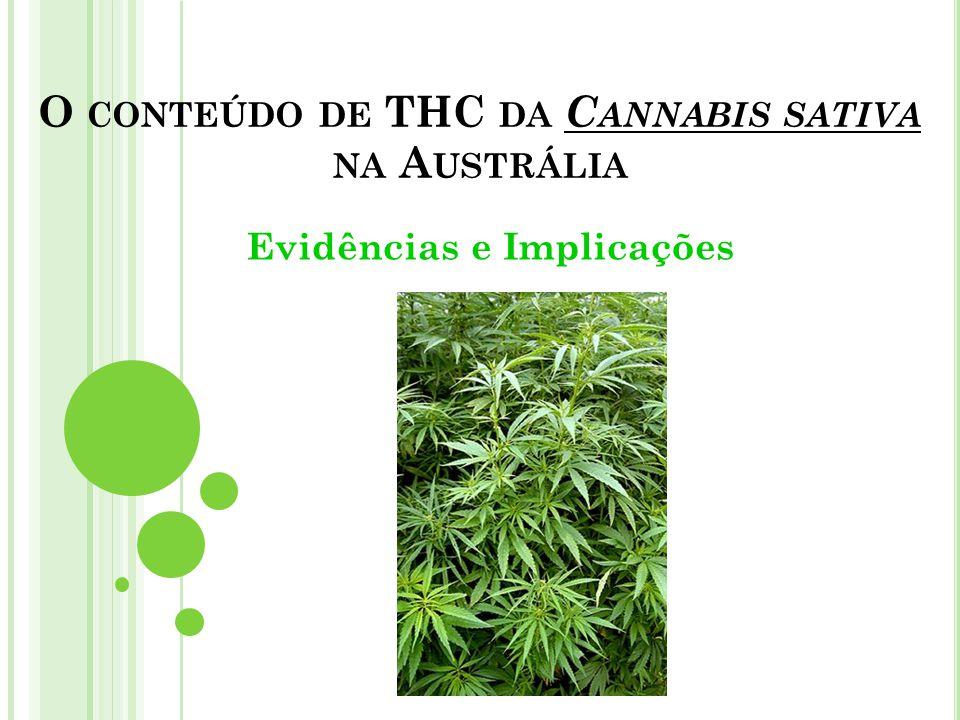 O CONTEÚDO DE THC DA C ANNABIS SATIVA NA A USTRÁLIA Evidências e Implicações