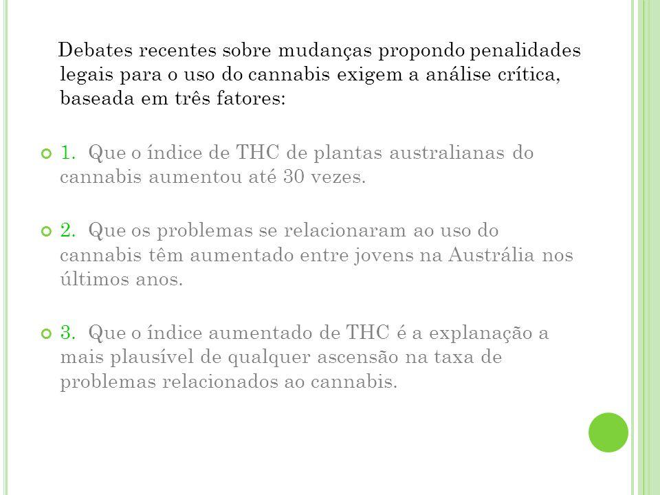 C ONCLUSÃO Dados: ligeiro aumento no teor de THC nas plantas de cannabis; Maior utilização de produtos mais potentes; Usuários mais jovens; Políticas: seriam melhores se as pesquisas fossem baseadas no teor de THC de produtos australianos.