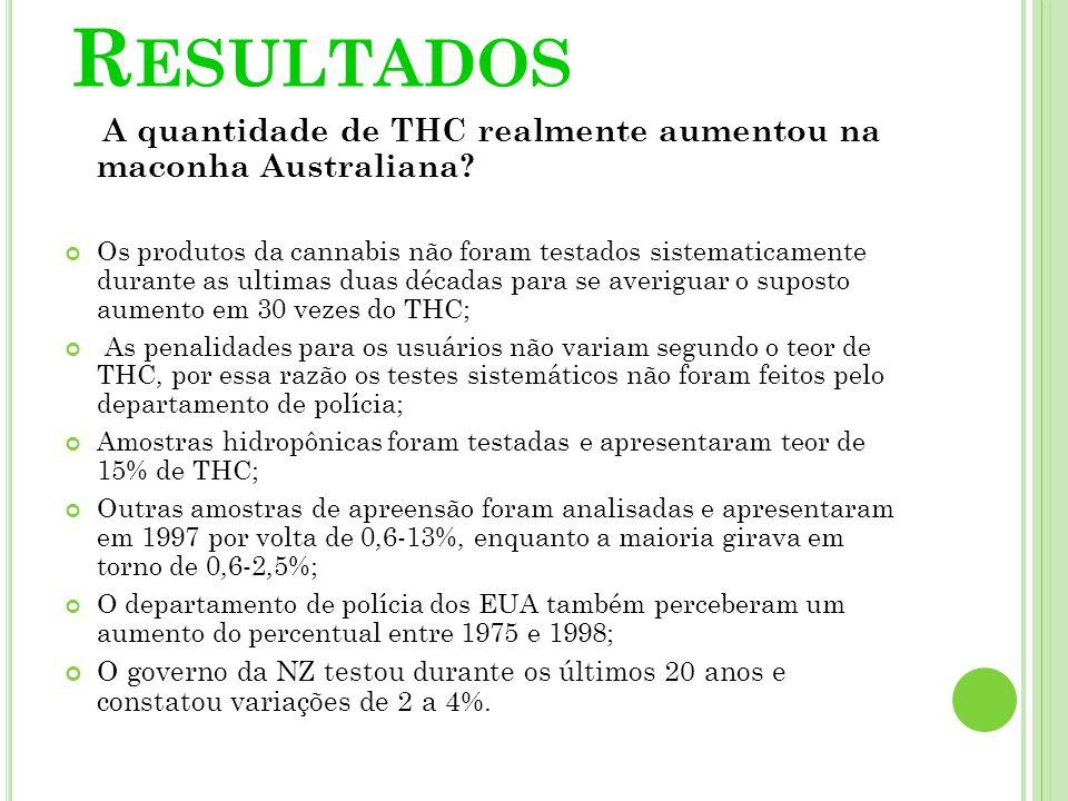 R ESULTADOS A quantidade de THC realmente aumentou na maconha Australiana? Os produtos da cannabis não foram testados sistematicamente durante as ulti