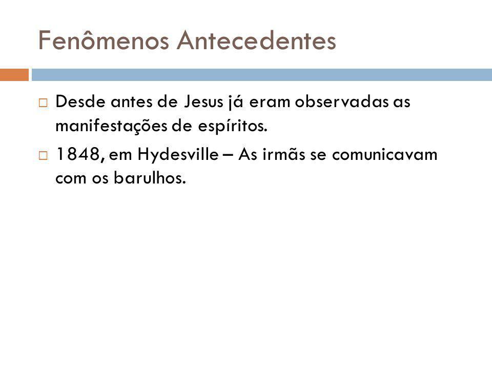 Fenômenos Antecedentes Desde antes de Jesus já eram observadas as manifestações de espíritos.