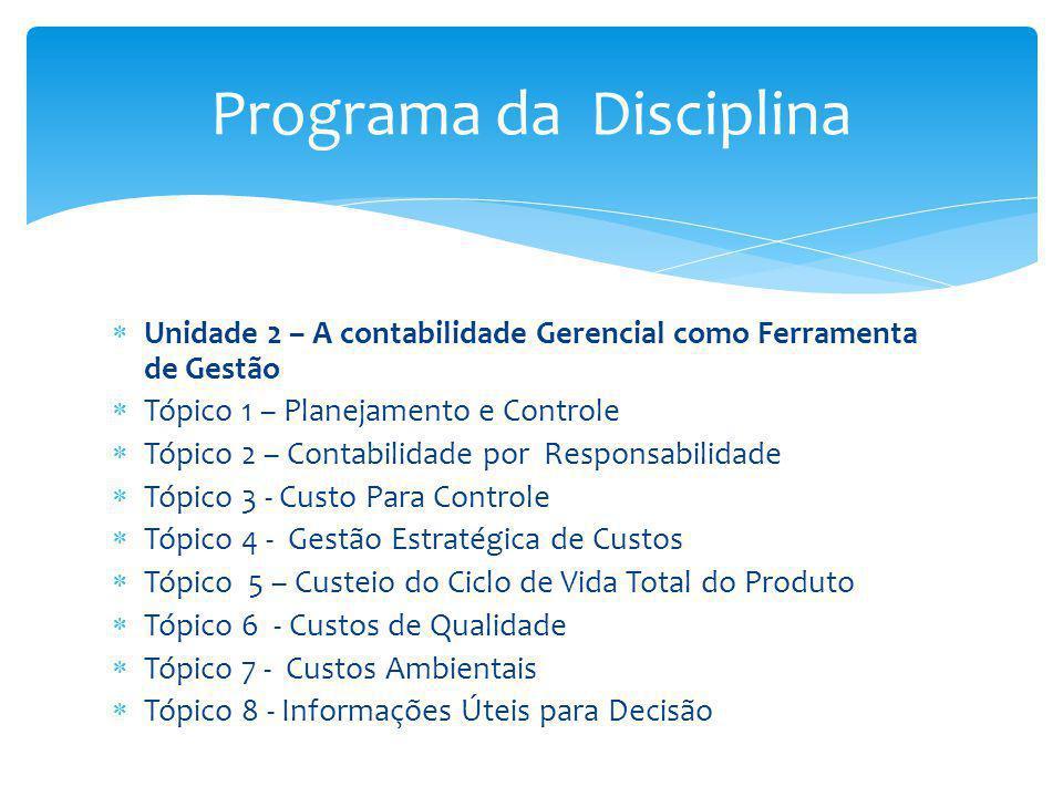 Unidade 2 – A contabilidade Gerencial como Ferramenta de Gestão Tópico 1 – Planejamento e Controle Tópico 2 – Contabilidade por Responsabilidade Tópic