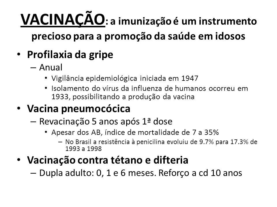 VACINAÇÃO : a imunização é um instrumento precioso para a promoção da saúde em idosos Profilaxia da gripe – Anual Vigilância epidemiológica iniciada e