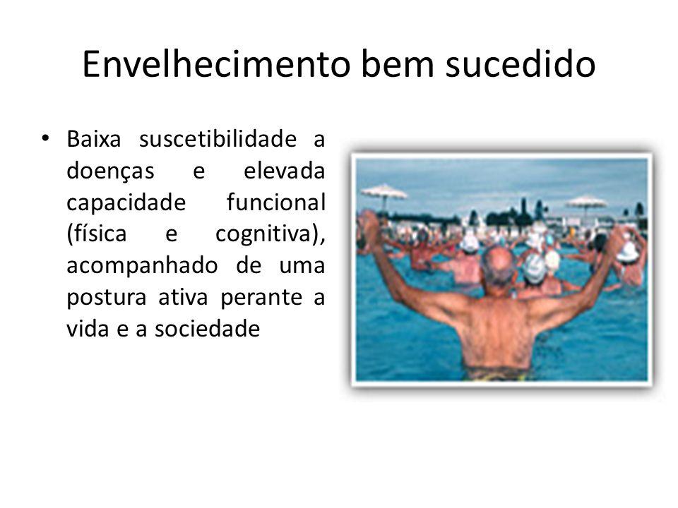 Envelhecimento bem sucedido Baixa suscetibilidade a doenças e elevada capacidade funcional (física e cognitiva), acompanhado de uma postura ativa pera