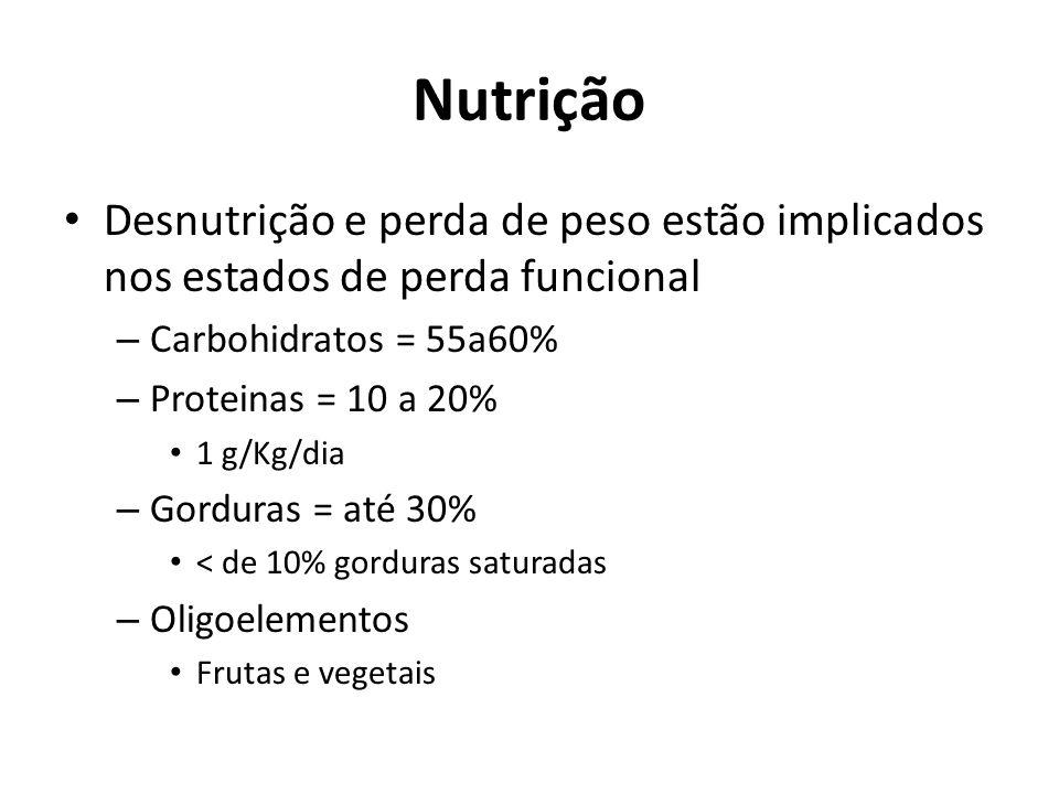 Nutrição Desnutrição e perda de peso estão implicados nos estados de perda funcional – Carbohidratos = 55a60% – Proteinas = 10 a 20% 1 g/Kg/dia – Gord