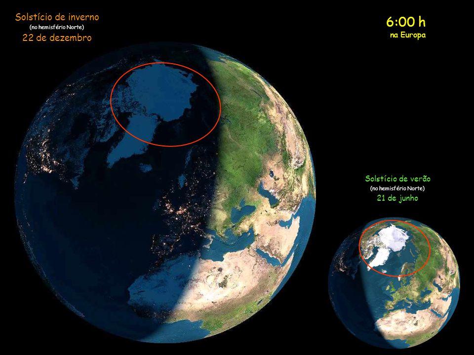 5:00 h na Europa Solstício de inverno (no hemisfério Norte) 22 de dezembro Solstício de verão (no hemisfério Norte) 21 de junho