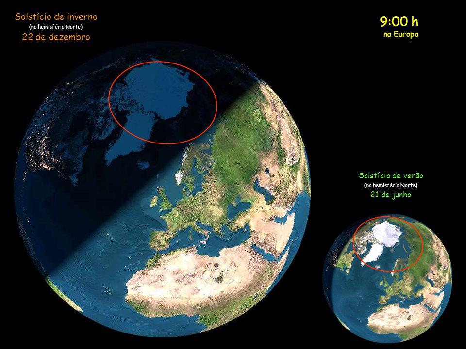 8:00 h na Europa Solstício de inverno (no hemisfério Norte) 22 de dezembro Solstício de verão (no hemisfério Norte) 21 de junho