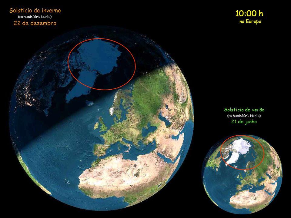 9:00 h na Europa Solstício de inverno (no hemisfério Norte) 22 de dezembro Solstício de verão (no hemisfério Norte) 21 de junho