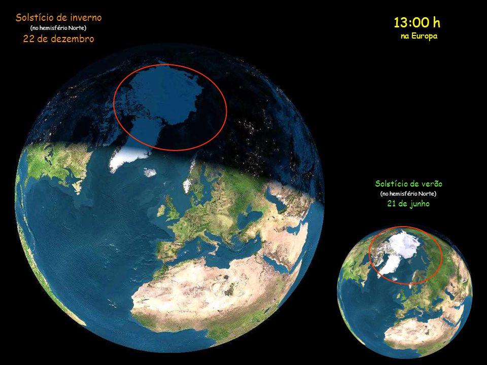 Embora seja Meio-dia, a região do pólo Norte está completamente às escuras. Meio-dia na Europa Solstício de inverno (no hemisfério Norte) 22 de dezemb