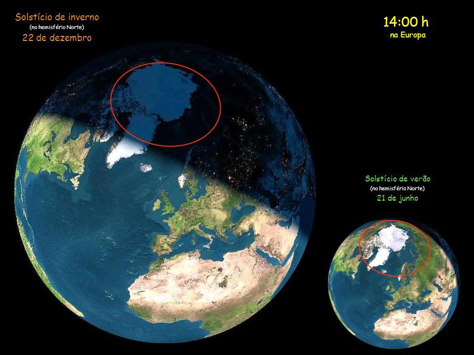 13:00 h na Europa Solstício de inverno (no hemisfério Norte) 22 de dezembro Solstício de verão (no hemisfério Norte) 21 de junho
