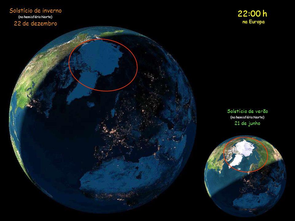 21:00 h na Europa Solstício de inverno (no hemisfério Norte) 22 de dezembro Solstício de verão (no hemisfério Norte) 21 de junho