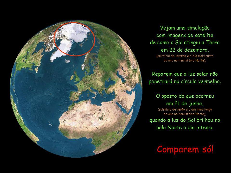 Devido à inclinação do eixo da Terra, a área em torno do pólo Norte não recebe a luz do Sol durante todo o inverno. Verão Inverno órbita Terra Sol