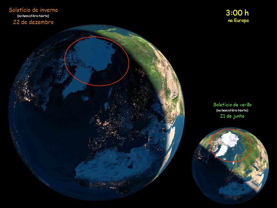 2:00 h na Europa Solstício de inverno (no hemisfério Norte) 22 de dezembro Solstício de verão (no hemisfério Norte) 21 de junho